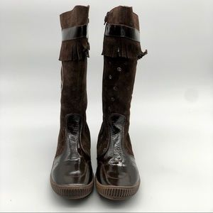 Girls Peace (sign) Boots, dark brown